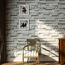 GSYH Modern 3D Faux Brick Stone Textured Wallpaper,Non-woven Texture ClassicClassic Retro Pattern Wallpaper Roll for Living Room, Bedroom and Background(21x 393.7 Inch) Light Gray