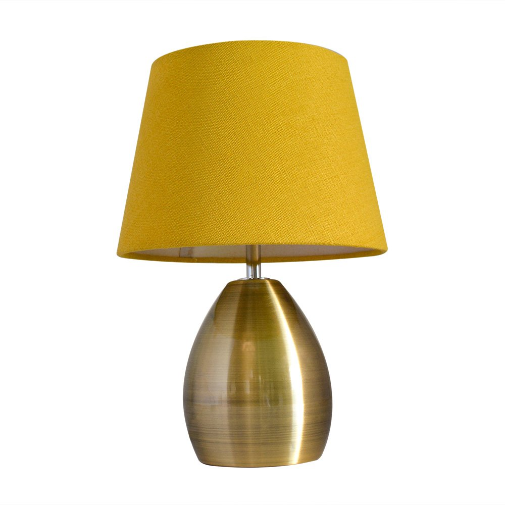 Monkey Sun Small Table Lamps for Bed Room Yellow Fabric Shade Bronze Metal Base Simple Retro Style 11.8'' (Yellow)