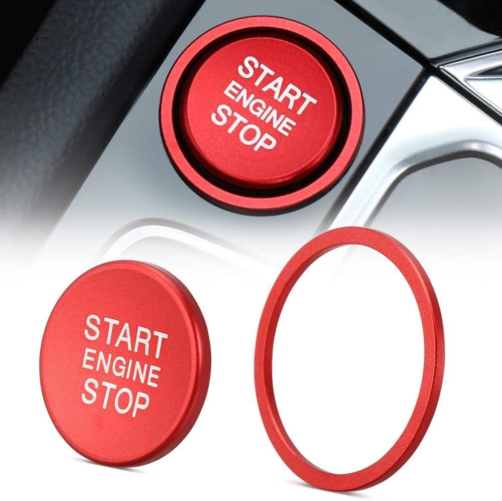 LECART 2Pcs Car Engine Start Stop Push Button Cover Trim Stickers Engine Start Stop Button Scratch Protector Metal Decal Sticker Car Interior Decoration Accessory for VW T-Roc CC Passat B8 Tiguan Blue