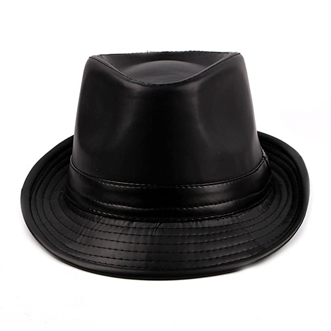 Pelle PU Cappello Fedora Uomo Ragazzi Inverno Berretto Trilby Homburg  Gentiluomo b850085a343f