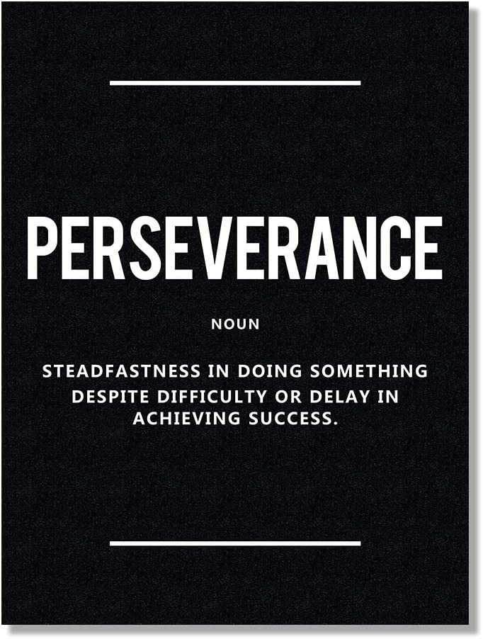 HLJ ART Inspirational Quote Wall Decor - Perseverance Noun Motivational Artwork Picture for Office Decoration (Black D, 12x16inch)
