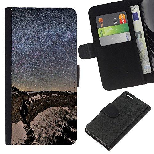 Funny Phone Case // Cuir Portefeuille Housse de protection Étui Leather Wallet Protective Case pour Apple Iphone 5C /Nuit Etoiles/