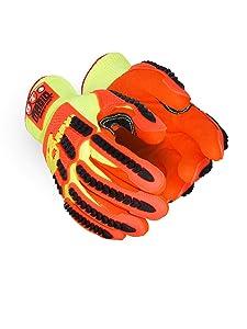 Magid Glove & Safety TRX540W-XL T-REX Arctic Series Waterproof Thermal Impact Glove, TPR Protection, Cut Level A6, Hi-Viz Orange, Size XL (1 Pair)