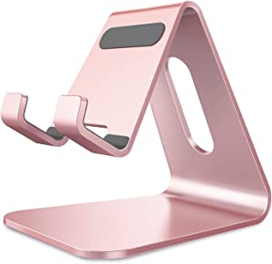 CreaDream Cell Phone Stand, Cradle, Holder,Aluminum Desktop Stand Compatible with Switch, All Smart Phone, iPhone 11 Pro Xs Max Xr X Se 8 7 6 6s Plus SE 5 5s-Rose Gold
