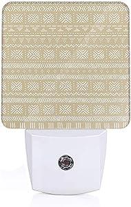 ArtSocket Night Light Decorative Bathroom Painting LED Nightlights Beige White Mudcloth African Ethnic