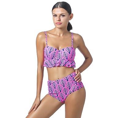 0440ab9c48b0 Bikini de cintura alta Split traje de baño Women's traje de baño ...