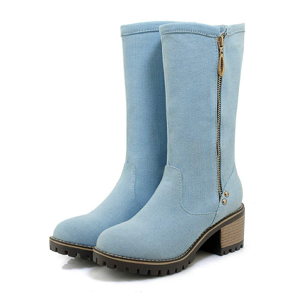 DETAIWIN Womens Fashion Casual Boots Square Heels Zipper Denim Slip On Outdoor Mid Calf Boots