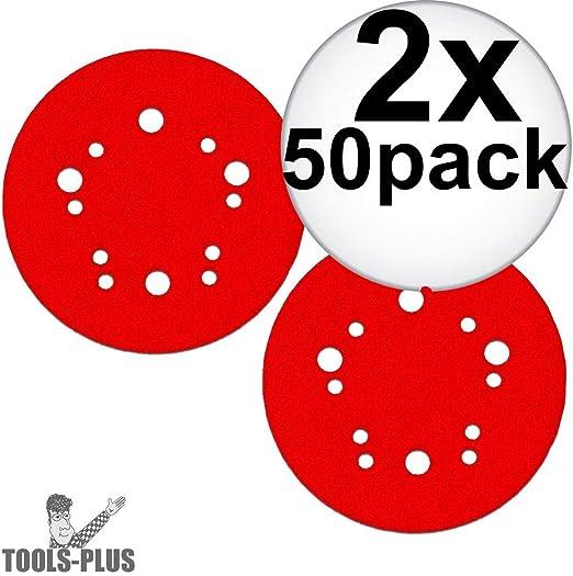 50-Pack Diablo DCD050080H50G 5 in 80-Grit Universal Hole Random Orbital Sanding Disc