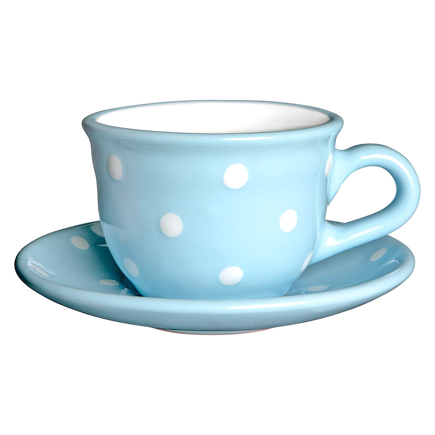 City to Cottage Light Sky Blue and White | Polka Dot Spotty | Designer Handmade Hand Painted | Unique Ceramic 9oz/250ml | Cappuccino Coffee Tea Cup with Saucer | Gift citytocottage.co.uk