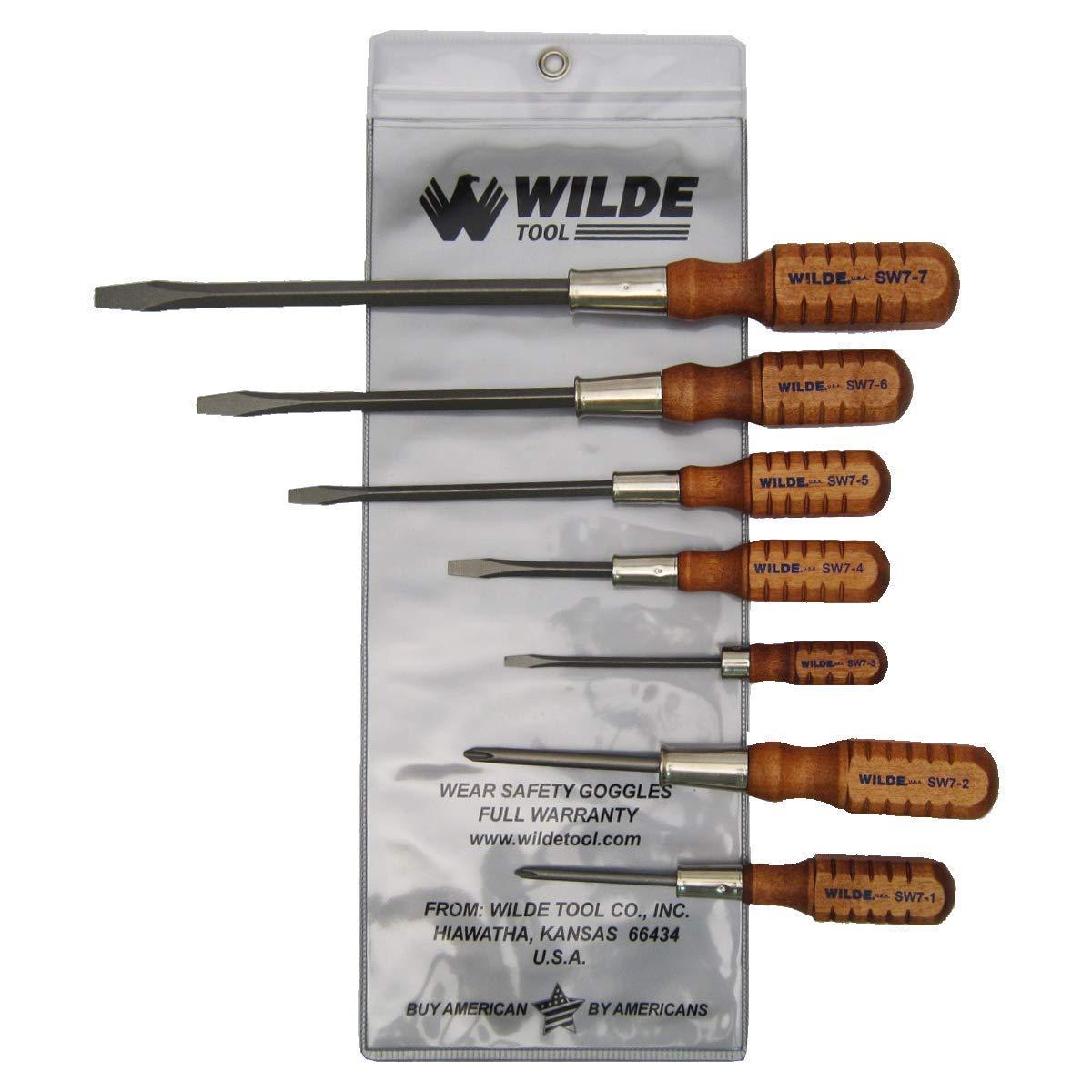7-Piece Wilde Tool SW7 Wooden Handle Mix Screwdriver Set