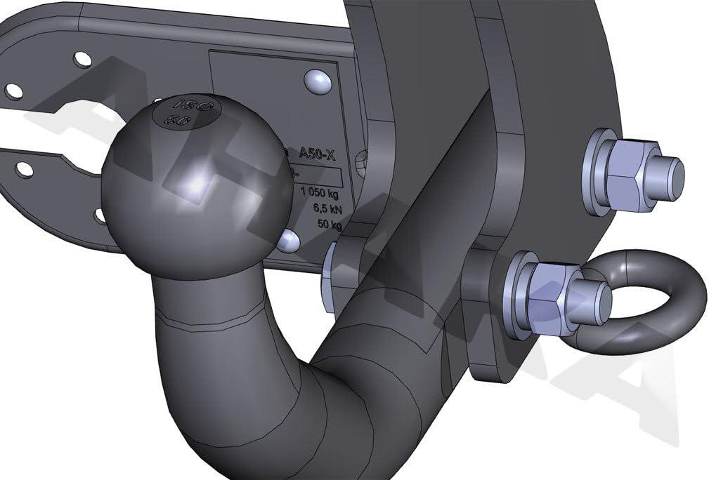 Anh/ängevorrichtung H/ängevorrichtung starr mit angeschraubtem Kugelkopf AHK Anh/ängerkupplung mit Elektrosatz 13 polig f/ür Ford Fusion 2002