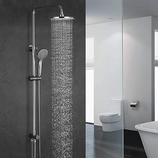 BONADE Sistema de ducha ducha de lluvia sin grifo ducha para montaje en pared columna de ducha conjunto de ducha con ducha fija de 9 pulgadas ducha de mano con 3 tipos barra de ducha para ba/ño