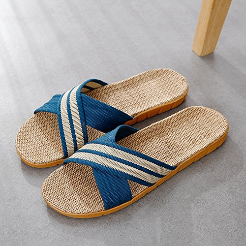 anti 42 blue room for cool Summer couples a wooden floor home fankou men's girls the dark slippers linen summer slip in stay thick 43 seasons xvwqO