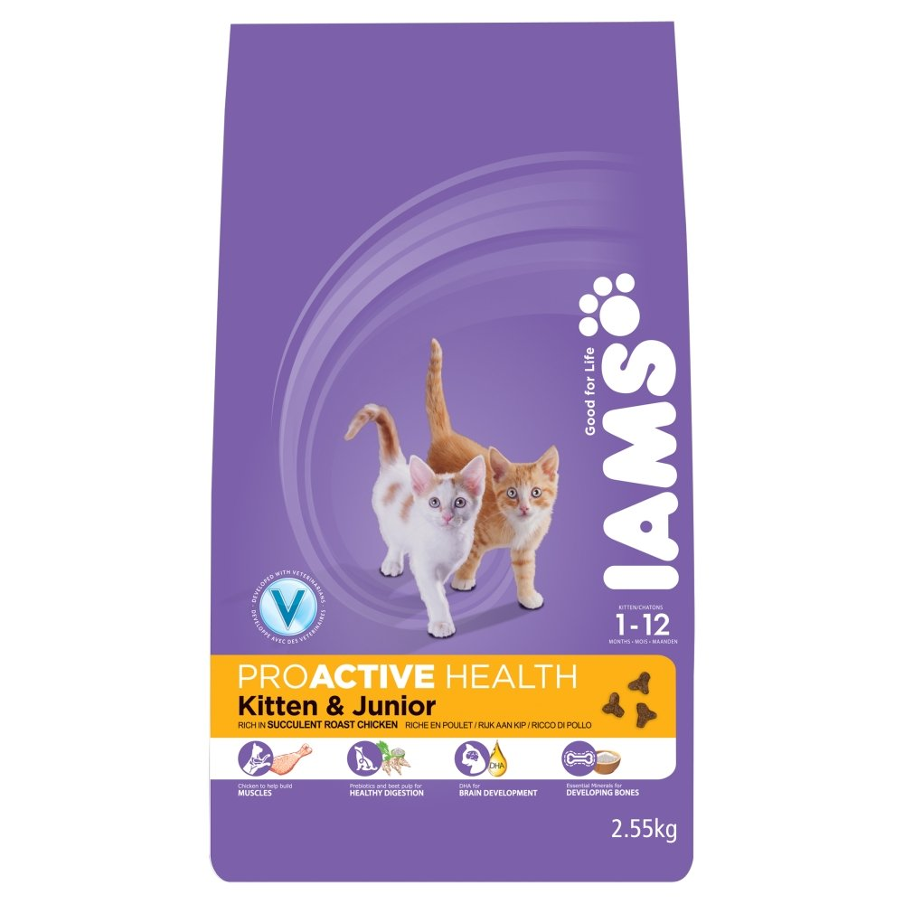 Iams Dry Cat Food Kittenand Junior Chicken 2 55 Kg Pack of 3