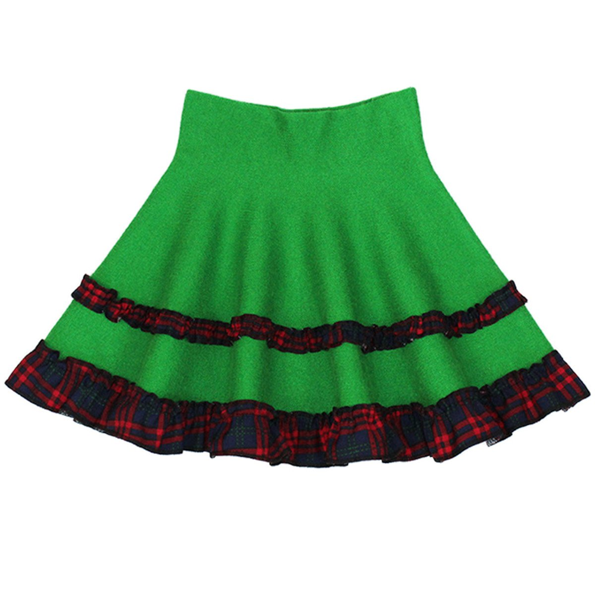 JELEUON Little Kids Girls High Waisted Spring Autumn Plaid lace A-Line Midi Skirt