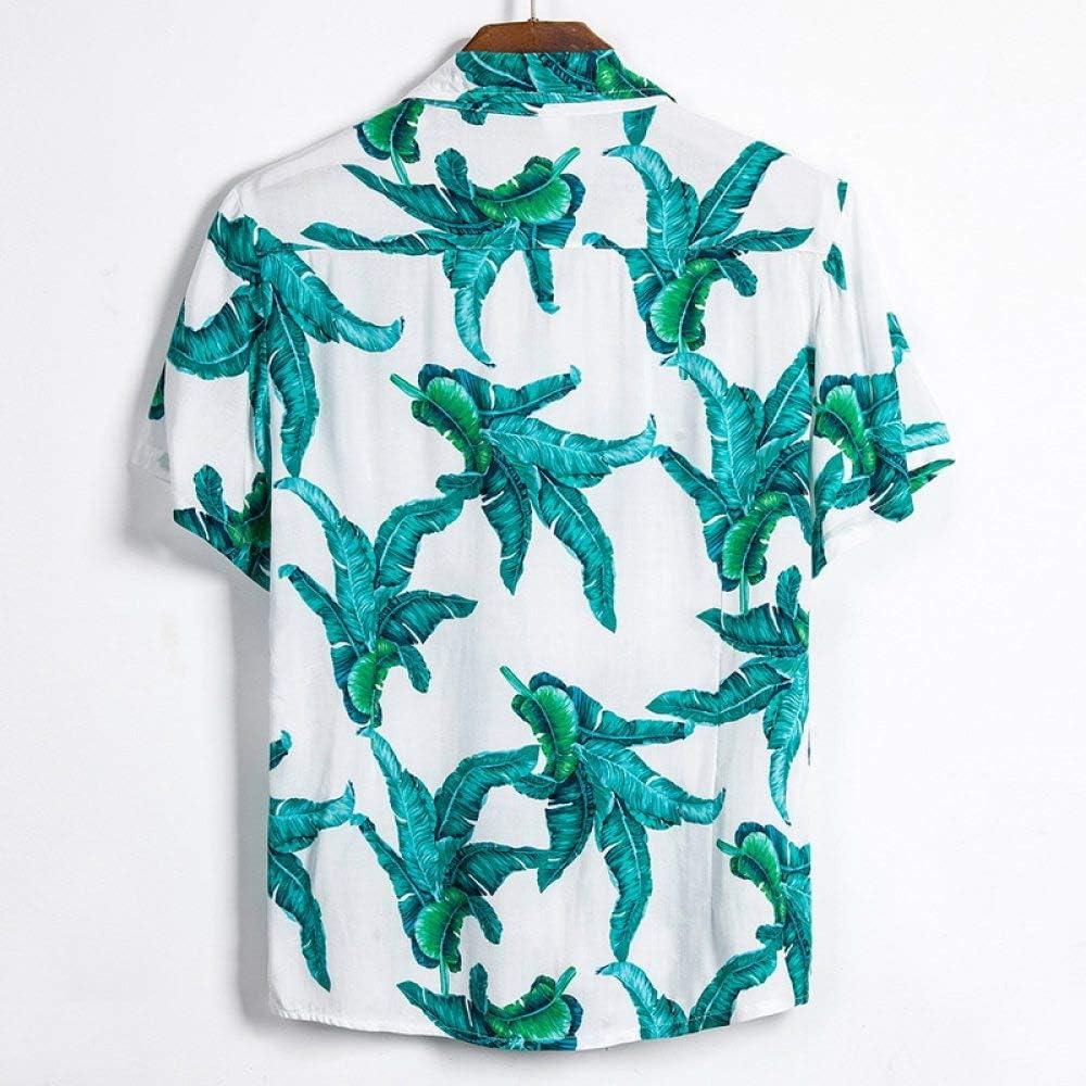 WDXPYA MenS Hawaiian Shirt,Summer Men Button Casual Shirts Fashion Hawaiian Green Plant Flowers Printed Short-Sleeve Beach Shirts Holiday Streetwear