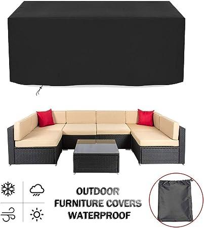 Funda Protectora para Muebles de Jardín, Lona Impermeable 420D Oxford Tela Funda Mueble Jardin para Muebles de Mesa Y Sillas de Exterior Prueba de Viento/Anti-UV/A Prueba de Polvo, Negro: Amazon.es: Hogar