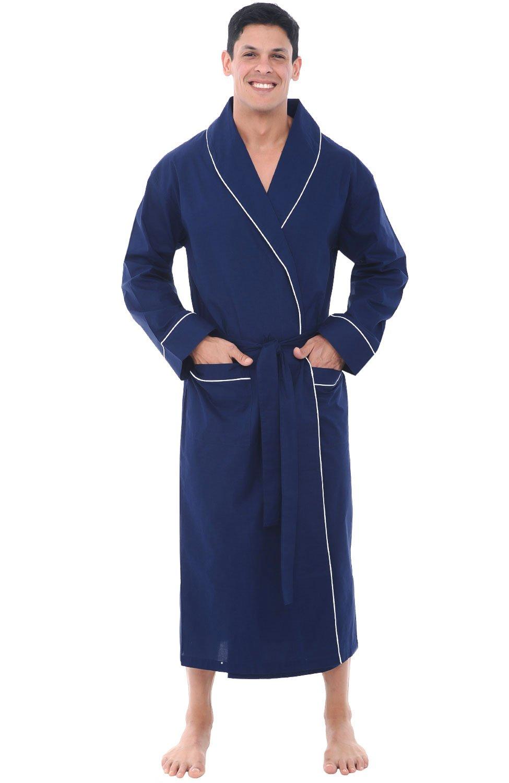 Alexander Del Rossa Mens Cotton Robe, Lightweight Woven Bathrobe, Large Navy Blue (A0715MBLLG)