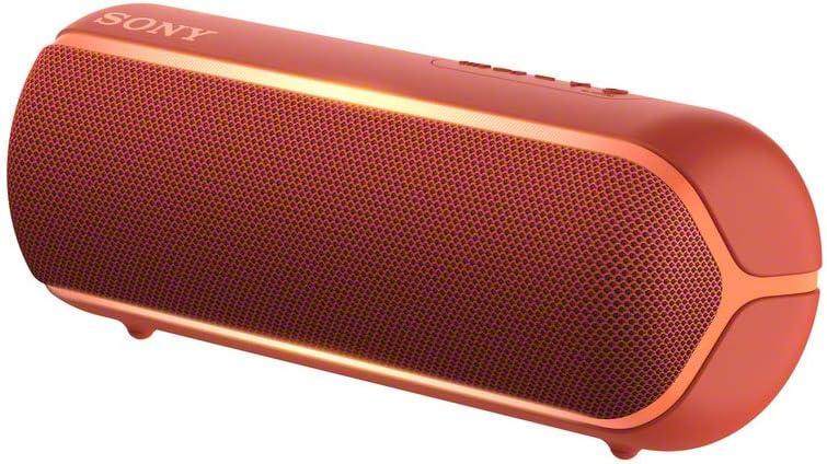 Sony SRS-XB22R - Altavoz inalámbrico portátil (Bluetooth, Extra Bass, diseño portátil, batería hasta 12h, Sonido Live Sound, Party Booster, Luces, Resistente al Agua y Polvo IP67) Rojo