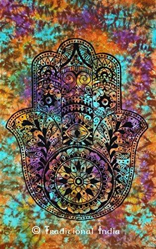 Fatima Hamsa Hand Tapestry Throw Indian Tie Dye