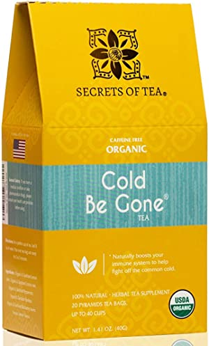 Secrets of Tea Cold Be Gone Tea for Cold and Flu Symptoms - Natural USDA Organic Throat Coat Tea Caffeine Free Herbal Immunity Tea, Cough, Congestion, Throat, Fever, and Sleep - 20 Counts(1 Pack)