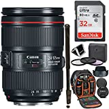 Canon ZOOM LENS EF 24-105mm F4L IS II USM - White Box, Sandisk Ultra SDHC 32GB Memory Card, Ritz Gear Photo Backpack, 77mm Filter Kit, 72'' Monopod, Memory Card Wallet and Accessory Bundle