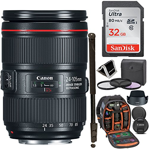 Canon ZOOM LENS EF 24-105mm F4L IS II USM - White Box, Sandisk Ultra SDHC 32GB Memory Card, Ritz Gear Photo Backpack, 77mm Filter Kit, 72