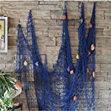 KINGSO Mediterranean Style Decorative Fish Net With Shells Blue