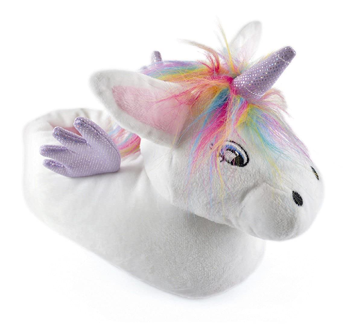 Kids 3D Unicorn Novelty Slippers Soft Plush Rainbow Fluffy Warm Indoor Shoes