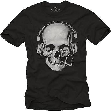 MAKAYA Camisetas Calaveras Hombre: Amazon.es: Ropa y accesorios
