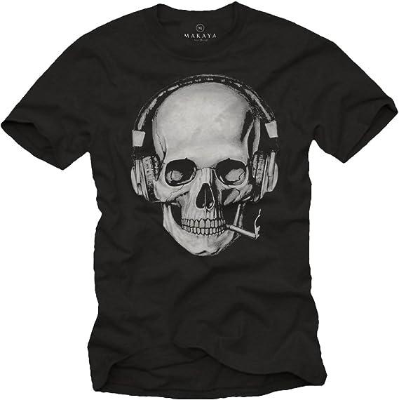 Tee Shirt Tete De Mort Homme Swag Musique Rock Skull Avec Casque