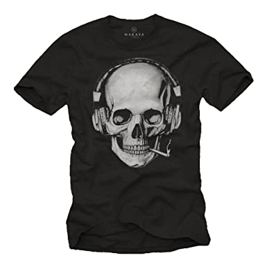65b299d806e9df Totenkopf T-Shirt mit Kopfhörer - Skull Rock Band Musik Shirt für Herren:  Amazon.de: Bekleidung