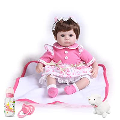 Pompon 16 Inches Real Life Baby Doll Reborn Baby Dolls Girl Look Real Lifelike Newborn Baby Dolls Silicone Vinyl Realistic Baby Doll Light Pink Dress Real Life Baby Doll: Toys & Games