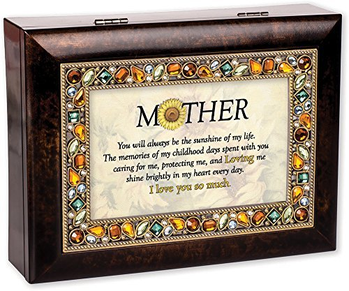 Mother You Will Burlwood Finish Jeweled Lid Jewelry Music Box Plays Tune You Are My Sunshine by Cottage Garden Collections