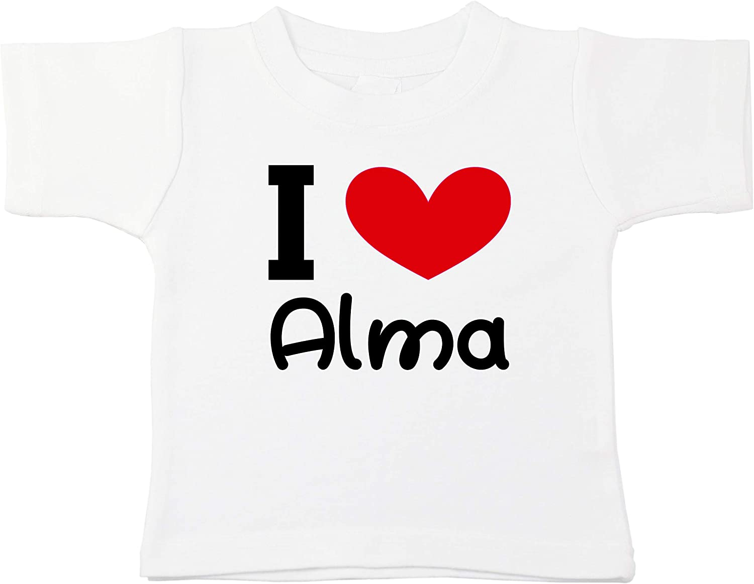 Kinacle I Love Alma Personalized Baby//Toddler T-Shirt