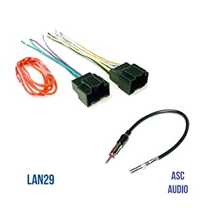 asc audio car stereo radio wire harness plug and antenna adapter for some  buick chevrolet gmc