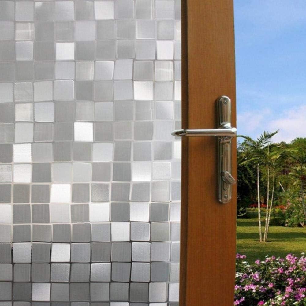 LASISZ 45x100cm Impermeable Esmerilado Privacidad Flores Película Decorativa 3D Estático Aferrado Piedra Ventana Vidrio Películas Pegatina Sin película de Pegamento Auto, Azul