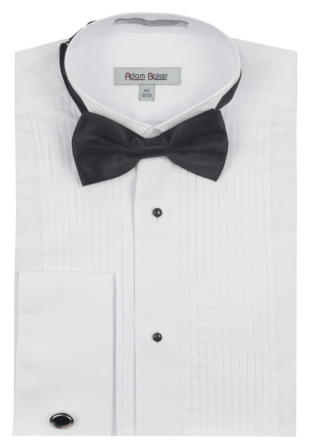 Adam Baker 1922 Men's Regular Fit Wingtip Collar French Cuff Tuxedo Shirt - White - 15 4-5 by Adam Baker
