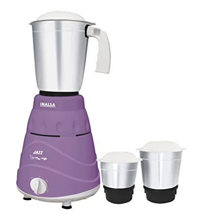 Inalsa Jazz 550-Watt Mixer Grinder with 3 Jars (Purple/White) Mixer Grinders at amazon