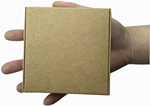 3.74x3.74x1.37 inch Small Kraft Paper Gift Boxes Cardboard Brown Aircraft Square Rectangle Treat Gift Favor Packaging Soap Jewellery Earring Paperboard Candy Chocolate Food Storage Pack (20 Pack)