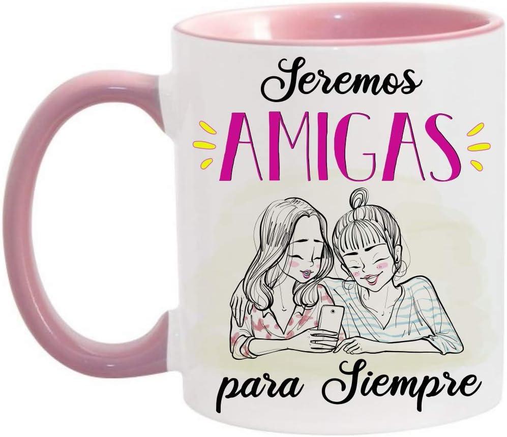 FUNNY CUP Taza Seremos Amigas para Siempre. Taza Regalo para Amigas de Toda la Vida (Rosa)