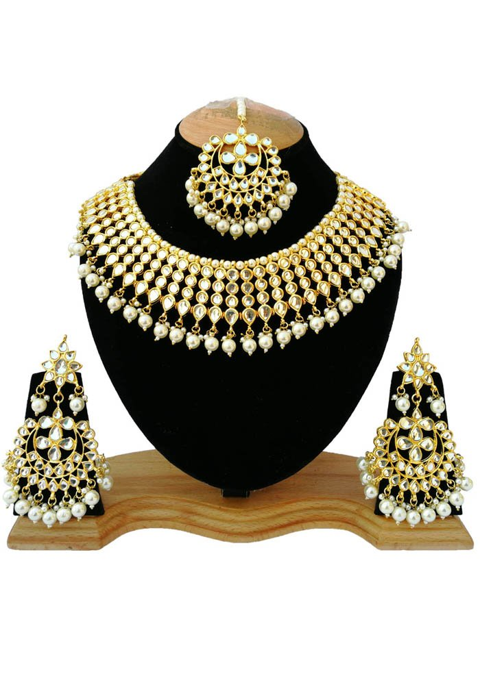 Finekraft Meena Kundan Gold Plated Bridal Look Jewelry Necklace Set