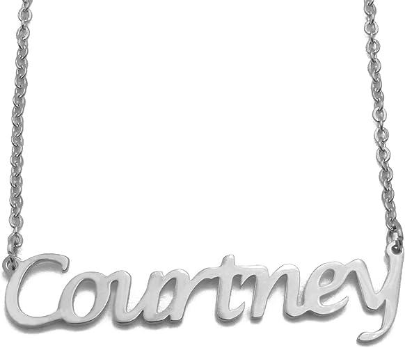 Zacria Courtney Silver Tone Name Necklace