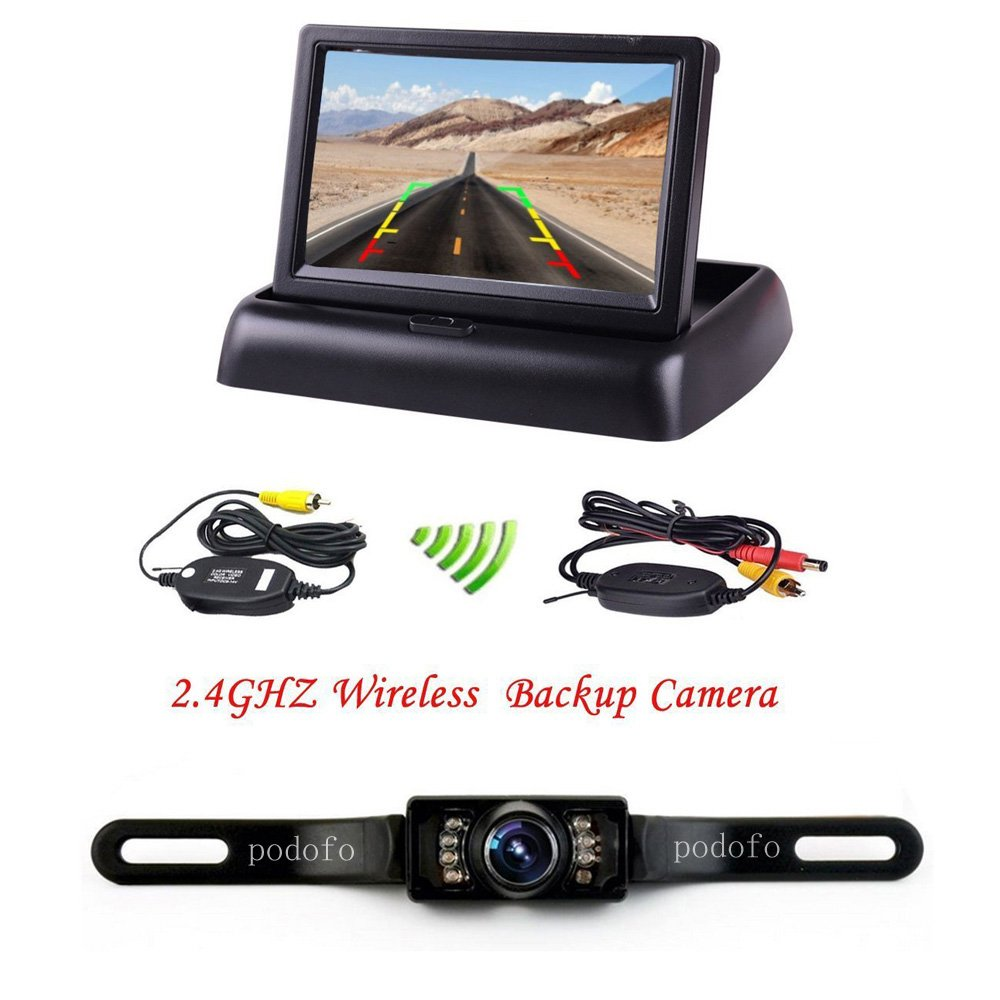 """podofo 4.3"""" TFT LCD Moniteur Rétroviseur Pliable Caméra de Recul Sans Fil Vision Nocturne Imperméable à l'eau Système de Recul Visuel well-wreapped"""