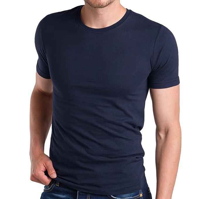 celodoro - Pack de 3 camisetas ajustadas para hombre - Azul marino - XXL: Amazon.es: Ropa y accesorios
