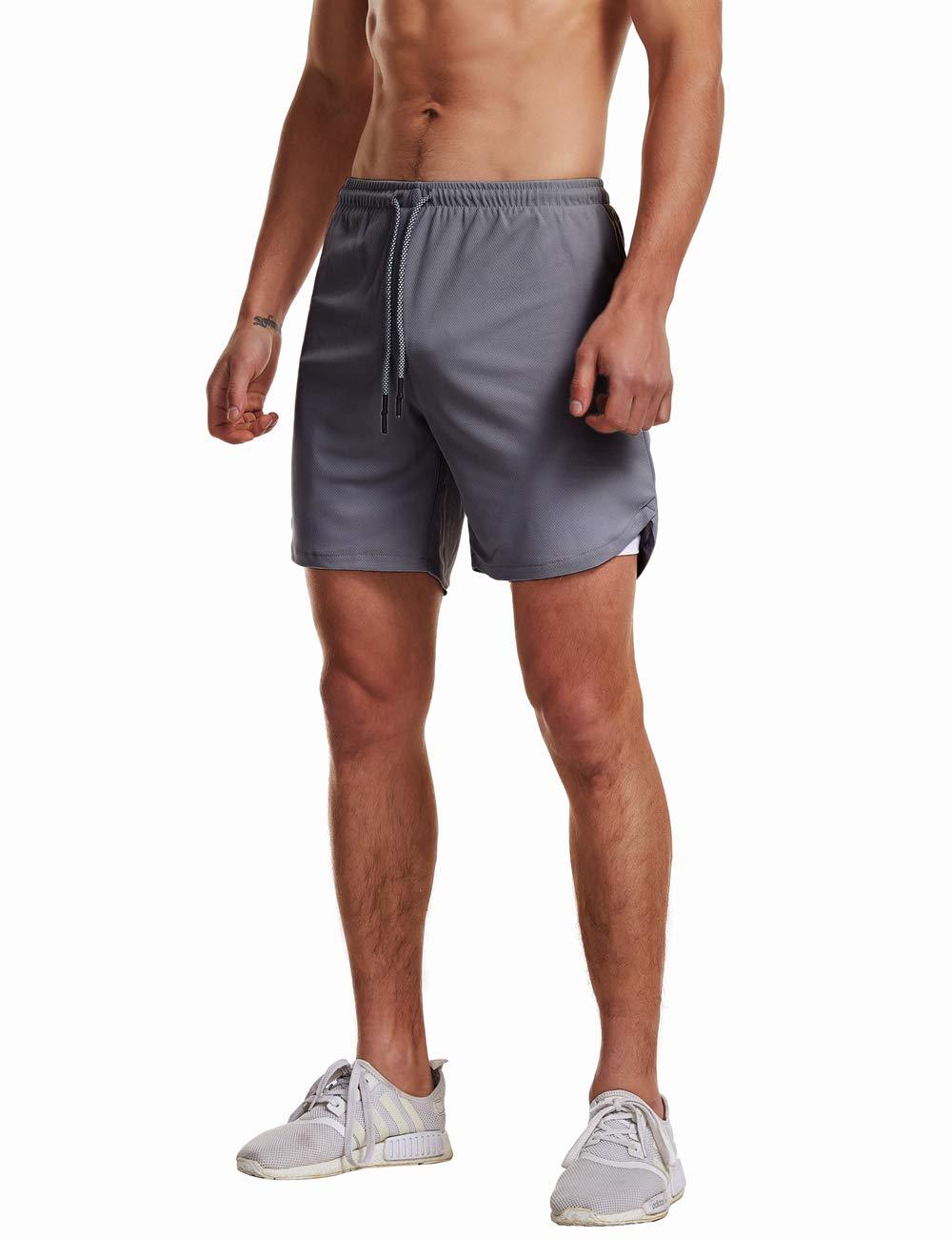 FLYFIREFLY Mens 2-in-1 Workout Running Shorts 7 Lightweight Gym Yoga Training Sport Short Pants