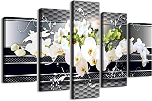 5 Piece Wall decor Canvas art for living room Picture Butterfly Orchid Flowers Contemporary Black White Abstract prints Modern Home bedroom Wall decorations inspirational wall art posters artwork