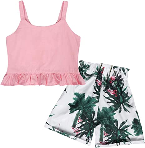 Kantenia Little Baby Girl Clothes Suit Summer Cottom Outfit Tops Shorts Two-Piece Suit Casual Playwear