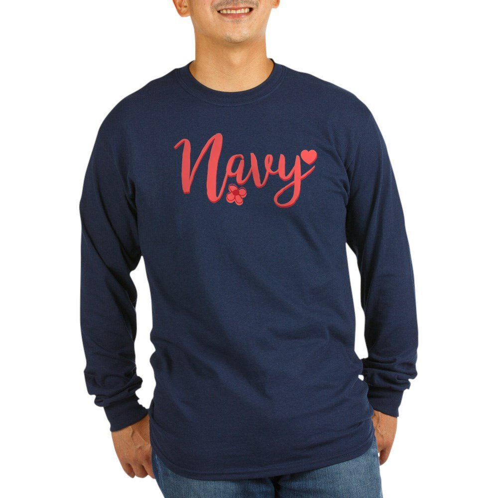 8317a637 Amazon.com: CafePress Navy Girly Text Long Sleeve T-Shirt Long Sleeve T:  Clothing