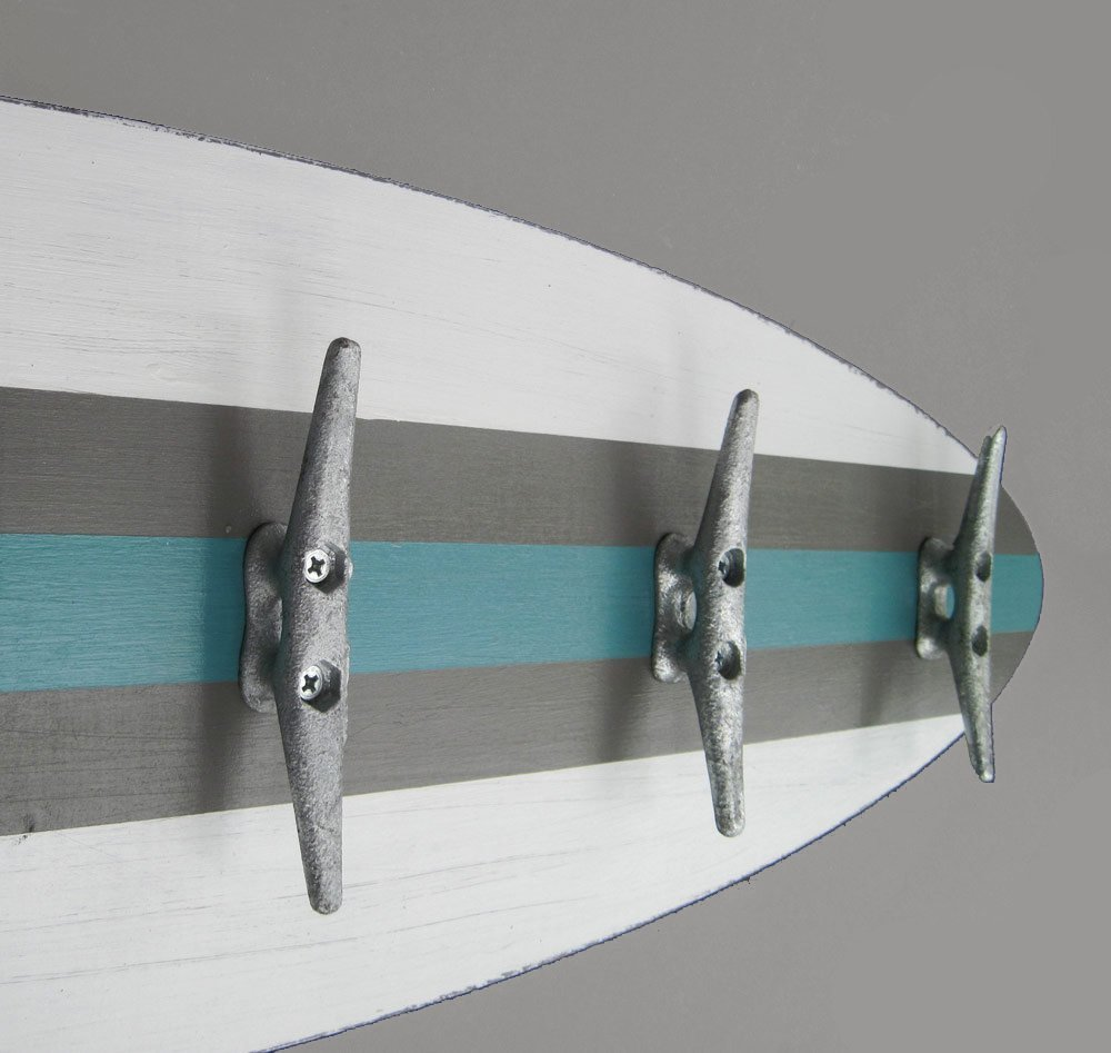 3 Ft. Surfboard Coat Rack with Cleats White, Gray and Turquoise by Project Cottage
